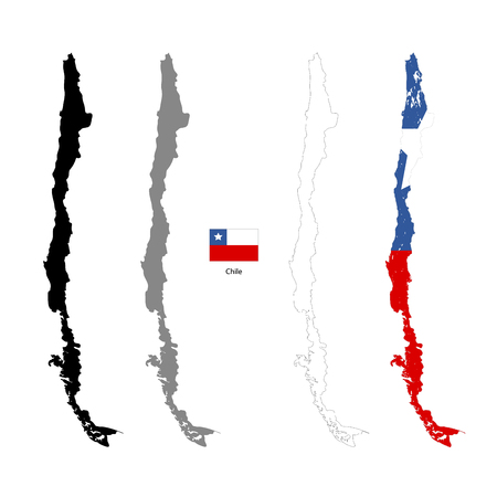 Chile country black silhouette and with flag on background, isolated on white