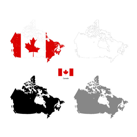 canada country: Canada country black silhouette and with flag on background, isolated on white