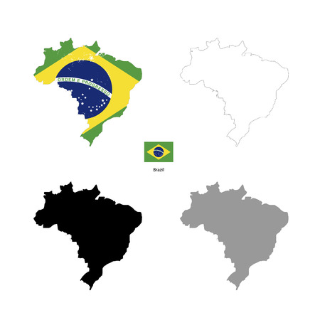 brazil country: Brazil country black silhouette and with flag on background, isolated on white
