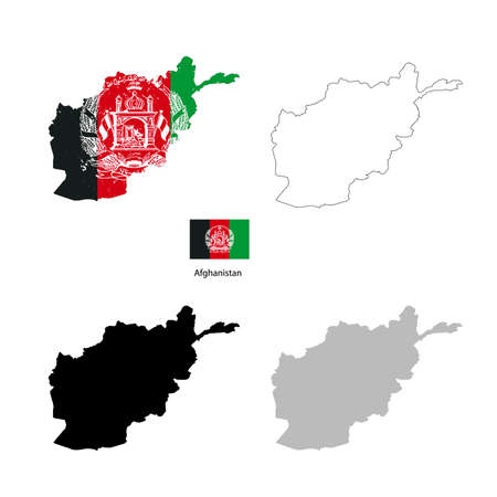 afghan: Afghanistan country black silhouette and with flag on background, isolated on white