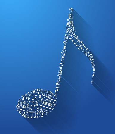 trill: Music note sign made up from music signs with long shadow on blue background