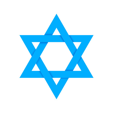 jews: Blue star of David with shadow on intersections, isolated on white Illustration