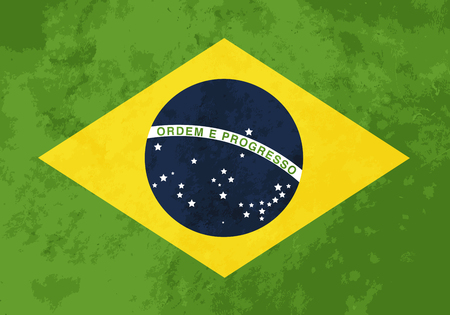brasilia: True proportions Brazil flag with grunge texture