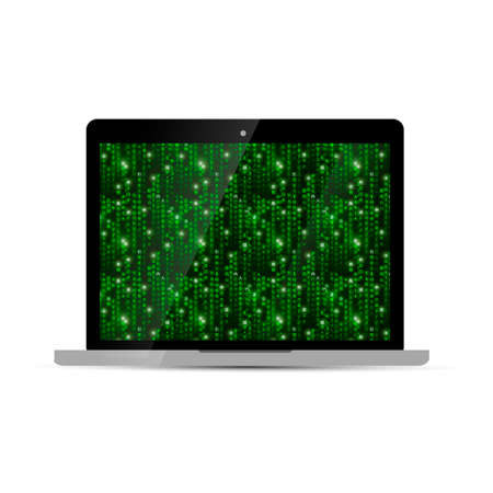 laptop screen: Glossy laptop with green matrix screen, isolated on white