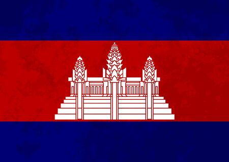 cambodian flag: True proportions Cambodia flag with grunge texture Illustration
