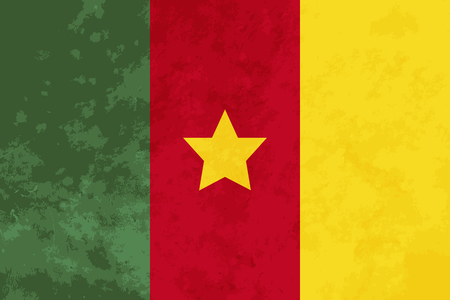 cameroon: True proportions Cameroon flag with grunge texture
