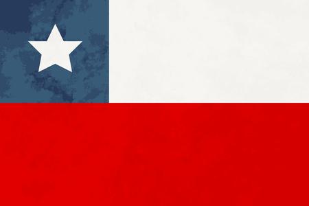 flag of chile: proporciones verdaderas bandera de Chile con la textura del grunge