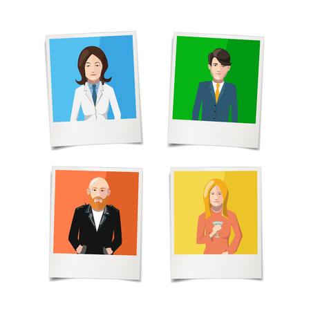 Four polaroid instant photos with flat portraits of people on colourful backgrounds, isolated on white