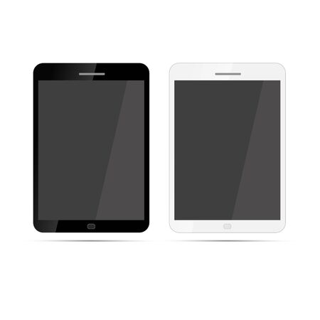 tabletpc: Glossy black and white realistic tablets with shadow isolated on white