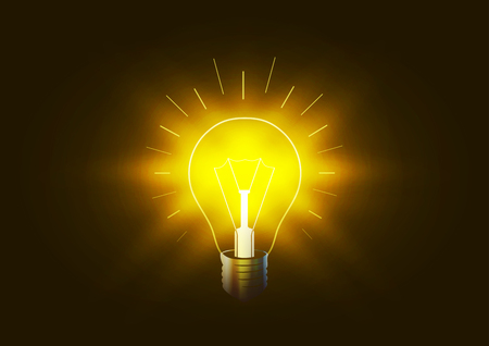 conceptual bulb: Bright lighting bulb with golden light in the darkness, conceptual illustration