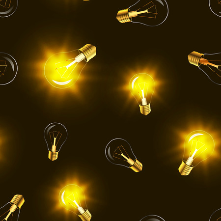 golden light: Bright lighting bulbs with golden light in the darkness, seamless pattern