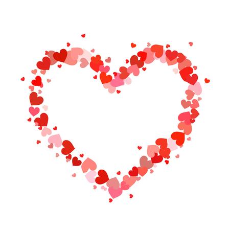 contorno de corazón que se compone de corazones rojos poco de color rosa y aislados en blanco