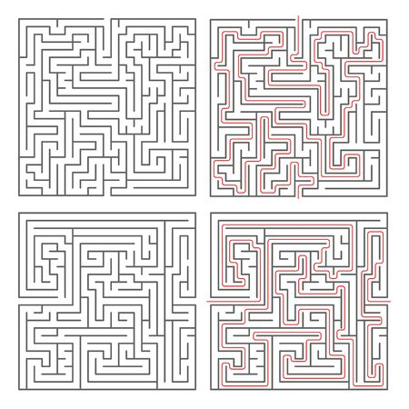 hopeless: Two different mazes of medium complexity on white and solution with red paths