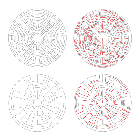 lost child: Two round mazes of medium complexity on white and solution with red paths