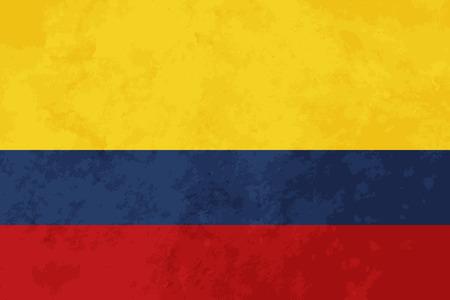 colombia flag: True proportions Colombia flag with grunge texture Illustration