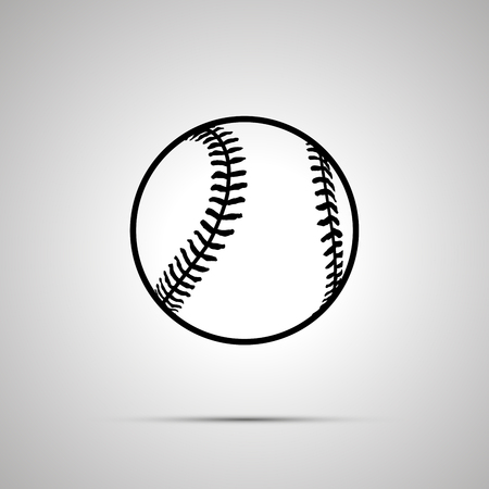 inning: Baseball ball simple black icon with shadow Illustration