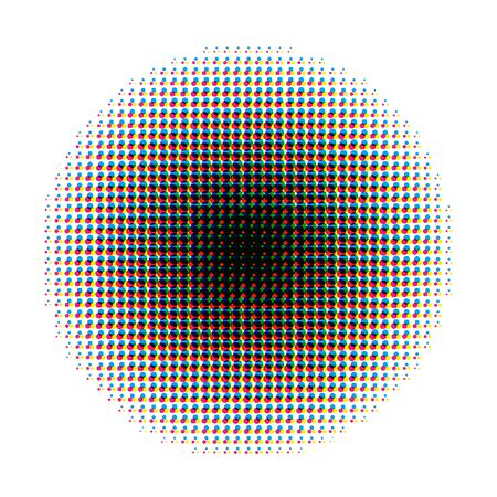 duotone: Round halftone screen pattern in CMYK colours isolated on white