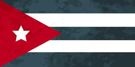 bandera cuba: proporciones verdaderas bandera de Cuba con la textura del grunge Vectores