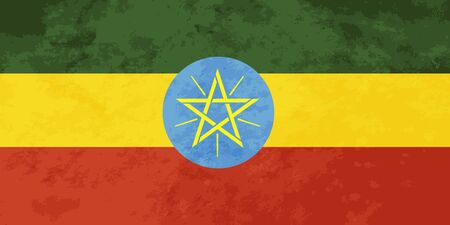 ethiopia  flag: True proportions Ethiopia flag with grunge texture