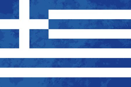 greece flag: True proportions Greece flag with grunge texture Illustration