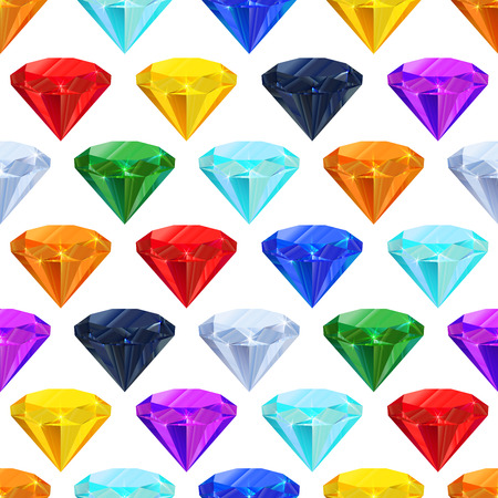saturate: A lot of different colourful gemstones in a row on white, seamless pattern