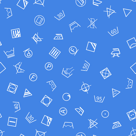 washhouse: White laundry symbols on blue background seamless pattern Illustration