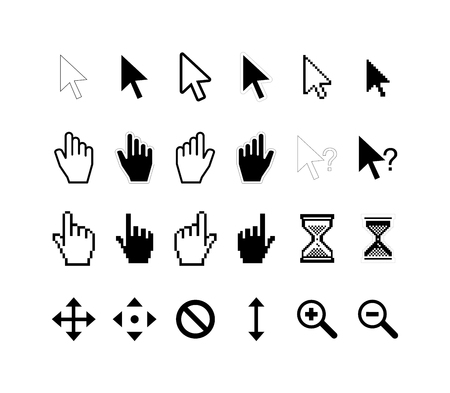 help section: Large set of computer arrow cursors isolated on white