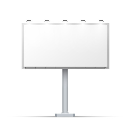 outdoor advertising: White outdoor billboard with place for advertising and with lighting