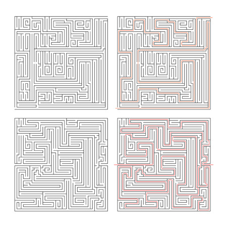 complexity: Two different mazes of high complexity on white and solution with red paths