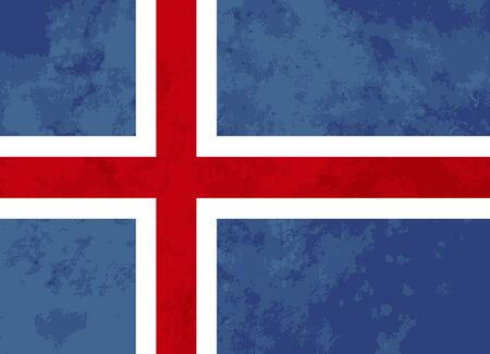 iceland flag: True proportions Iceland flag with grunge texture