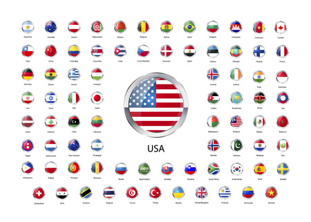 world flags: Set of round glossy icons with metallic border of flags of world sovereign states isolated on white Illustration