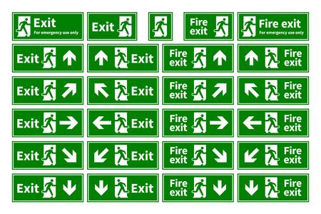 Conjunto de salida de emergencia contra incendios señales verdes con diferentes direcciones aisladas en blanco Foto de archivo - 57610827