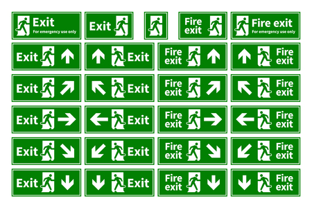 Set of emergency fire exit green signs with different directions isolated on white