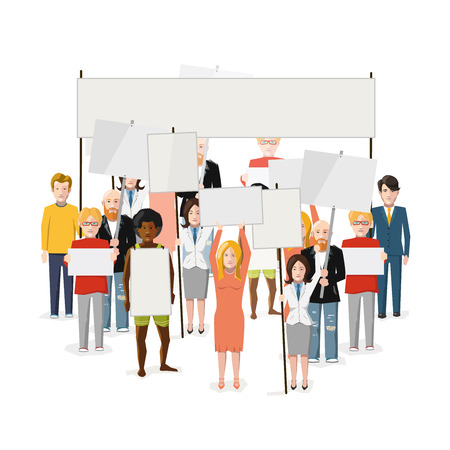 Riot demonstration, crowd of people with empty posters with place for text, flat illustration isolated on white Illustration