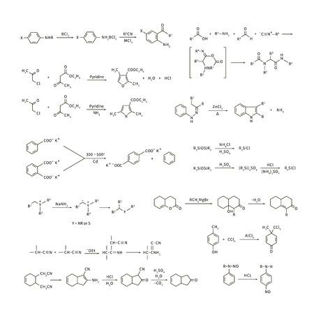 Große Reihe von grundlegenden chemischen Reaktionsgleichungen und Formeln auf weiß isoliert