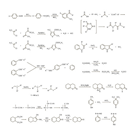 Large set of basic chemical reaction equations and formulas isolated on white Illustration