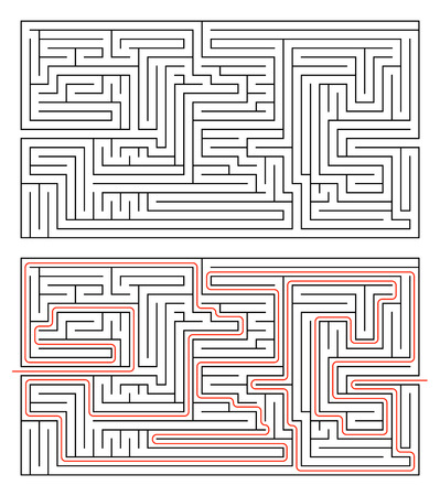 complexity: Rectangular maze of medium complexity isolated on white and solution with red path