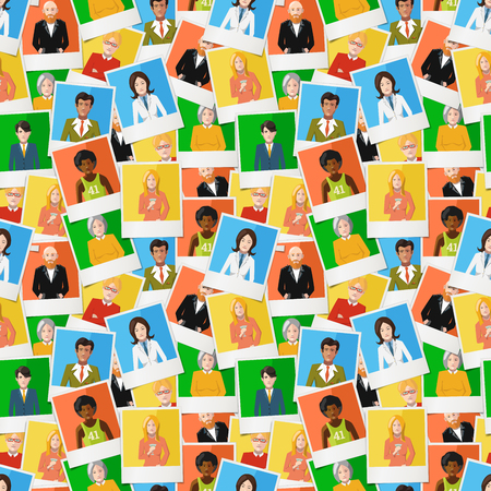 photos of pattern: A lot of different polaroid instant photos with flat portraits of people on colourful backgrounds, seamless pattern Illustration