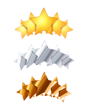 five stars: Golden, silver and bronze five glossy rating stars isolated on white