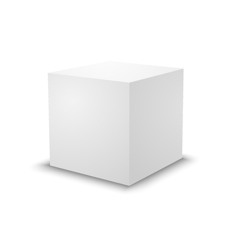 Blank white cube on white background. 3d box template.  イラスト・ベクター素材