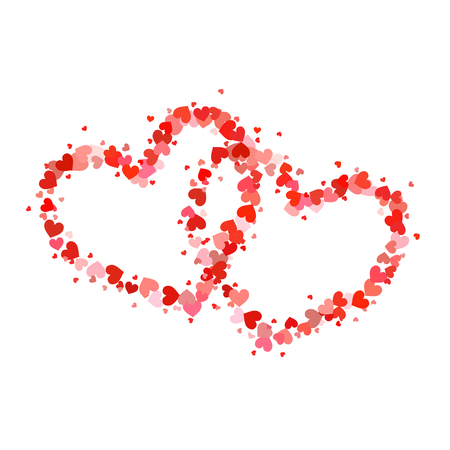 Two outline hearts made up from cute little hearts isolated on white