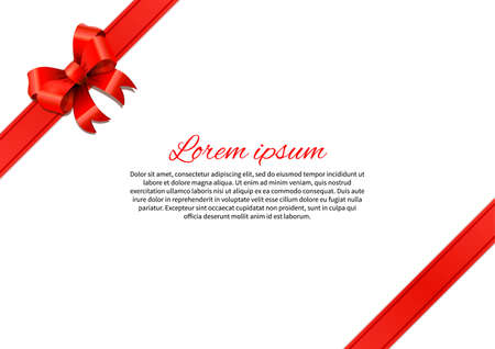 red bow: White postcard with red bow and text template