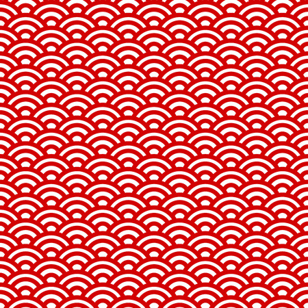 Red and white waves, japanese seamless pattern