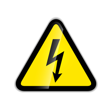 industrial safety: Bright high voltage sign modern icon with shadow isolated on white