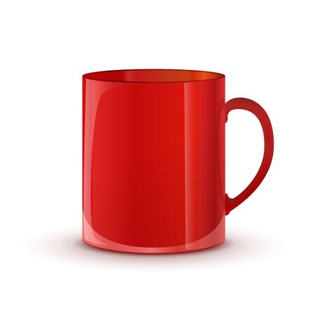 red cup: Realistic glossy red cup with shadow isolated on white