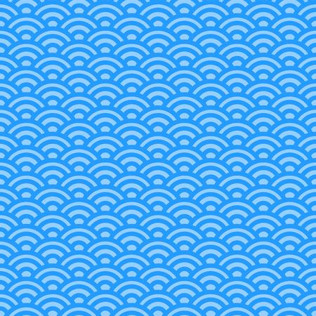 circular blue water ripple: Light blue waves, japanese seamless pattern