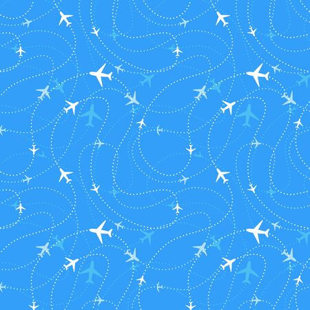 Airline routes with planes icons in blue skies, seamless pattern Stock Illustratie