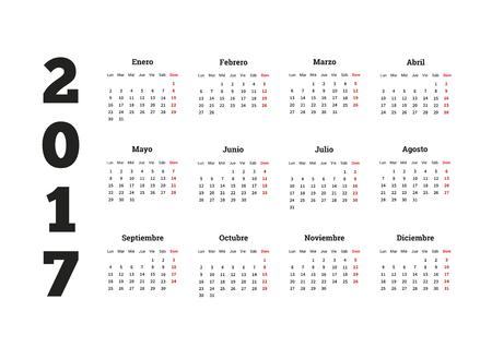 calendario diciembre: 2017 año calendario sencillo en español, aislado en blanco