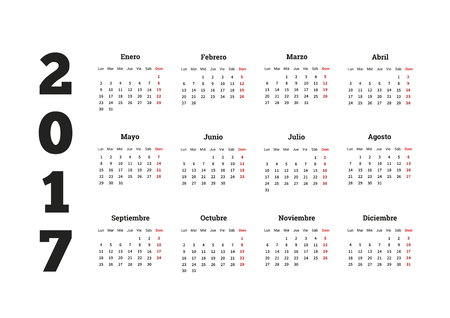 calendrier: 2017 year simple calendar in spanish, isolated on white