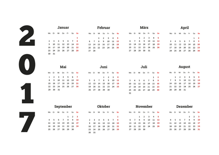 2017 año calendario simple en idioma alemán, aislado en blanco Foto de archivo - 59916424
